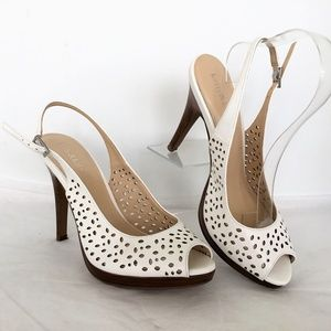 Kelly & Katie Heels Shoes size 9 M White Laser Cut